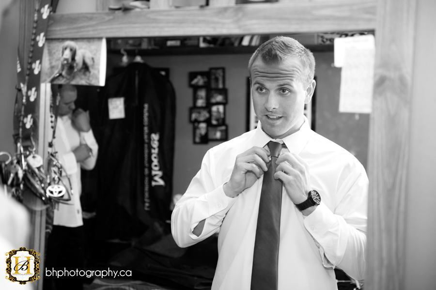 Groom prepares for wedding