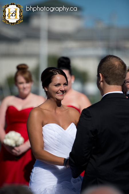 bride smiles at groom