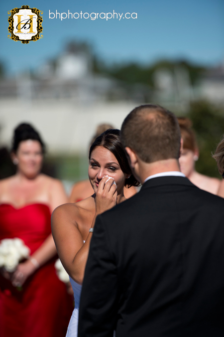 Bride cries during ceremony