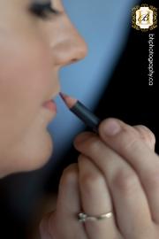 Bride finishes makeup