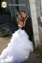 Bride and groom pose for photos
