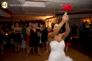 Bouquet toss at reception